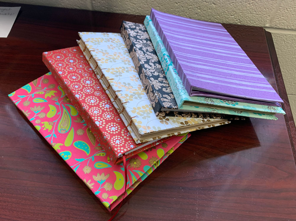 Hand-bound books (Grade 6, various students)