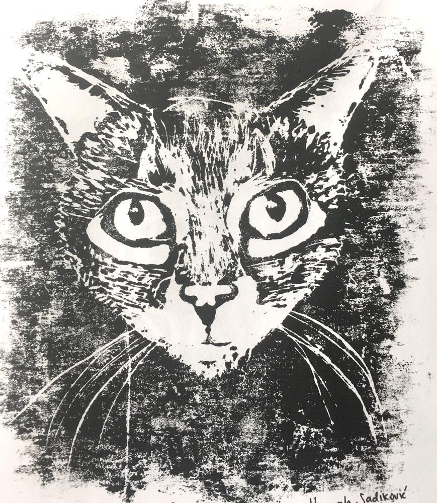 Cat (Grade 9) Styrofoam block print