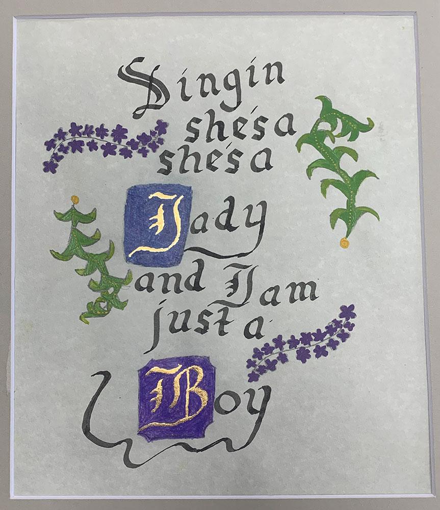 She's a Lady (Grade 6) Ink, gouache, gilding foil