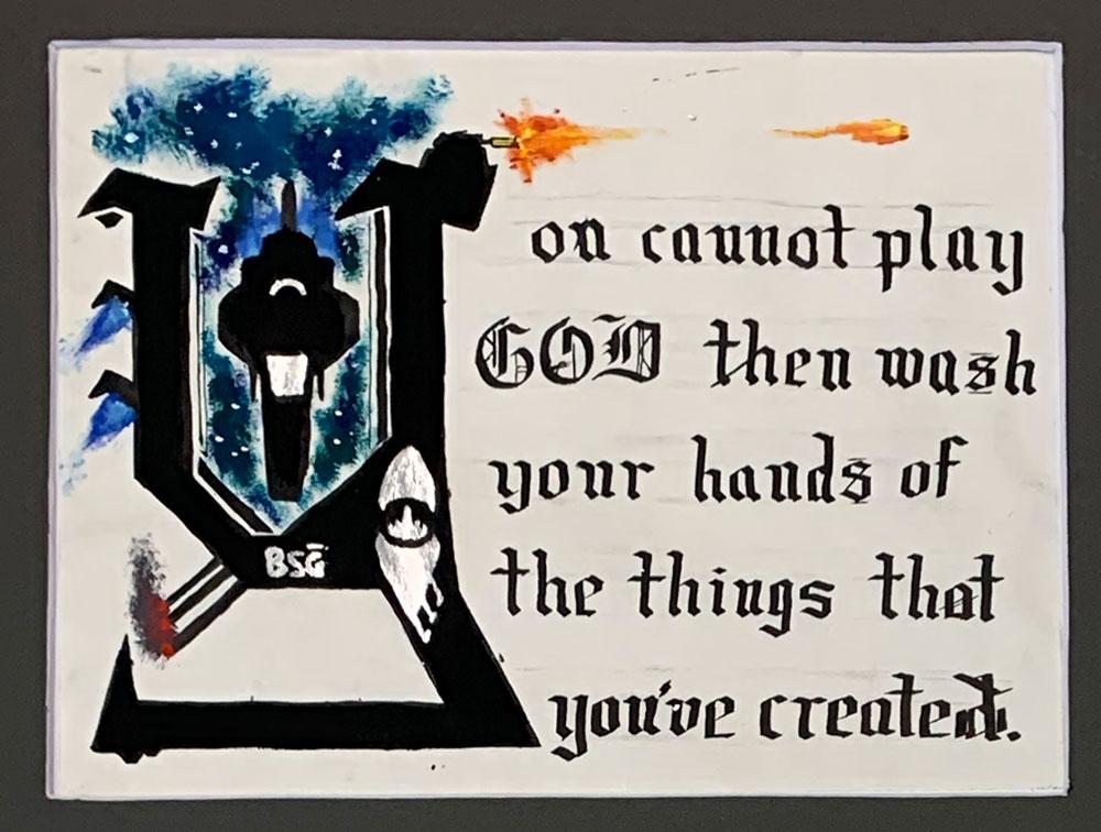 Cannot Play God (Grade 8) Ink, gouache, gilding foil