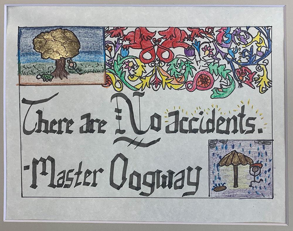 No Accidents (Grade 7) Ink, gouache, gilding foil