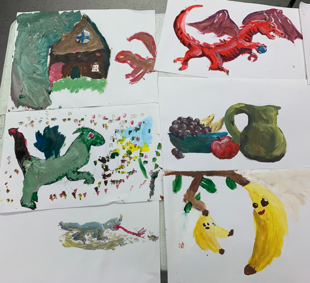 Misc compositions (Grade 4) Acrylic on paper