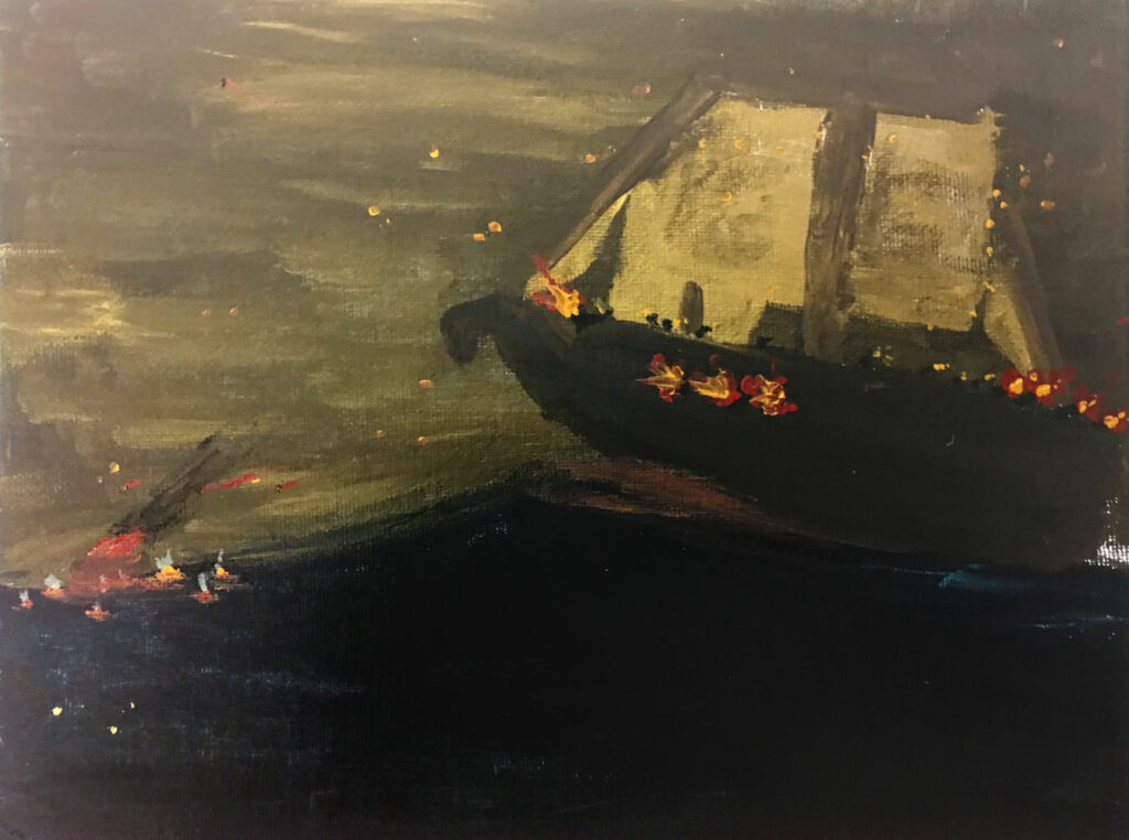 Night ship 2 (Grade 8) Acrylic on canvas board