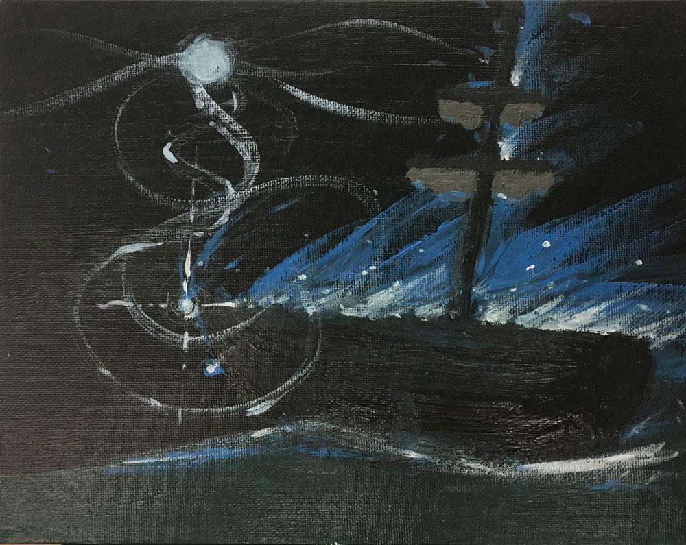 Night Ship (Grade 8) Acrylic on canvas board