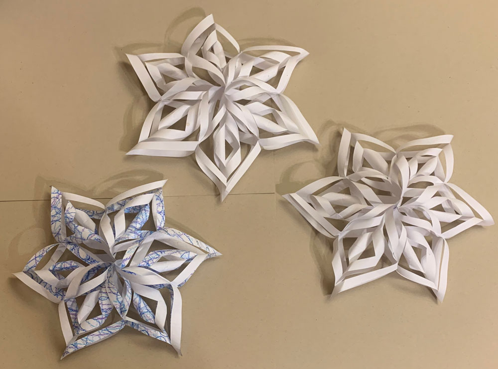 Paper Snowflakes (Grade 6, remote learning) Paper, colored pencil